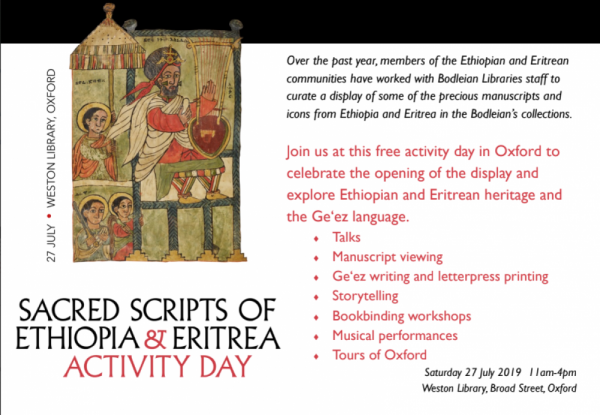 Sacred Scripts of Ethiopia and Eritrea Activity Day 2019